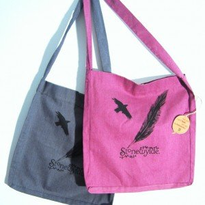 Stonewylde Crow and Quill Tote Bag with Popper