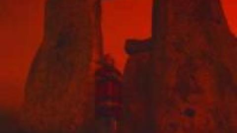 Kit and Mr. B inside Stonehenge