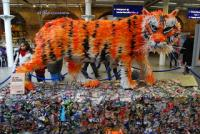 Tiger made from recycled plastic milk bottles
