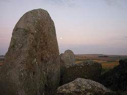 Moon rising at West Kennet longbarrow, Avebury